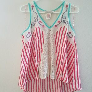 Flying Tomatoe Stripped Lace Tank S
